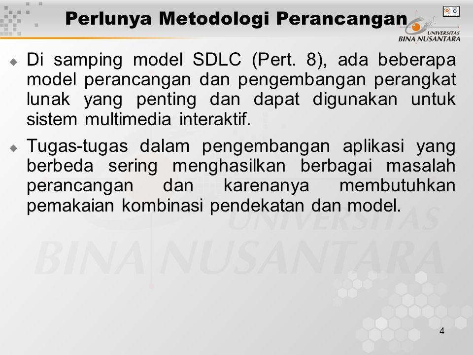 4 Perlunya Metodologi Perancangan  Di samping model SDLC (Pert. 8), ada beberapa model perancangan dan pengembangan perangkat lunak yang penting dan