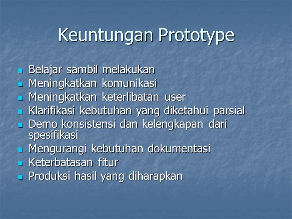 Keuntungan Prototype Belajar sambil melakukan Belajar sambil melakukan Meningkatkan komunikasi Meningkatkan komunikasi Meningkatkan keterlibatan user