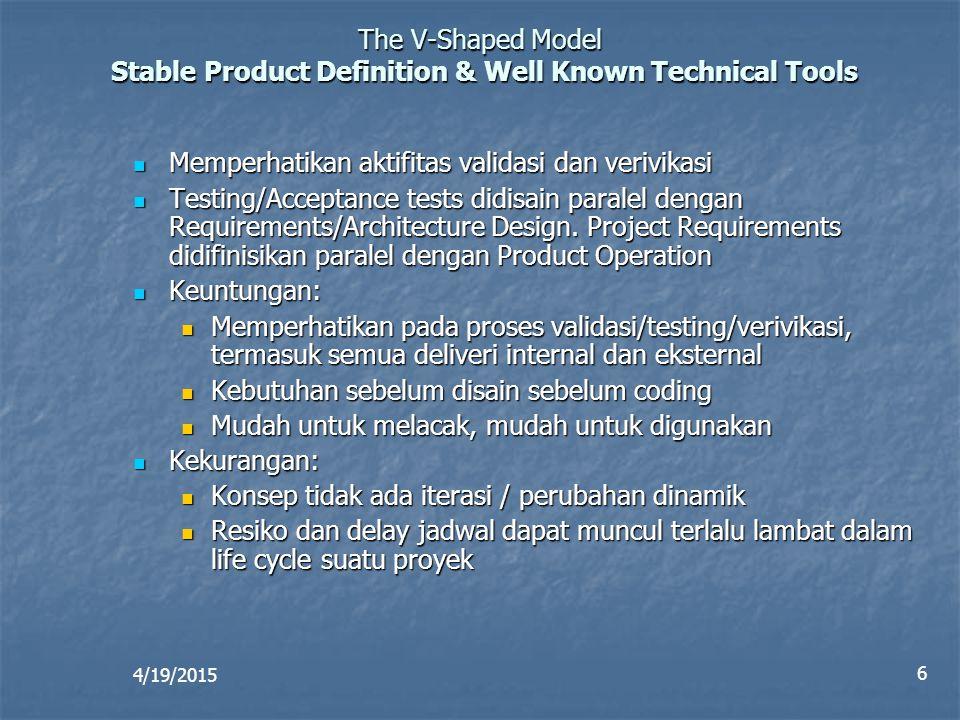 4/19/2015 6 The V-Shaped Model Stable Product Definition & Well Known Technical Tools Memperhatikan aktifitas validasi dan verivikasi Memperhatikan ak