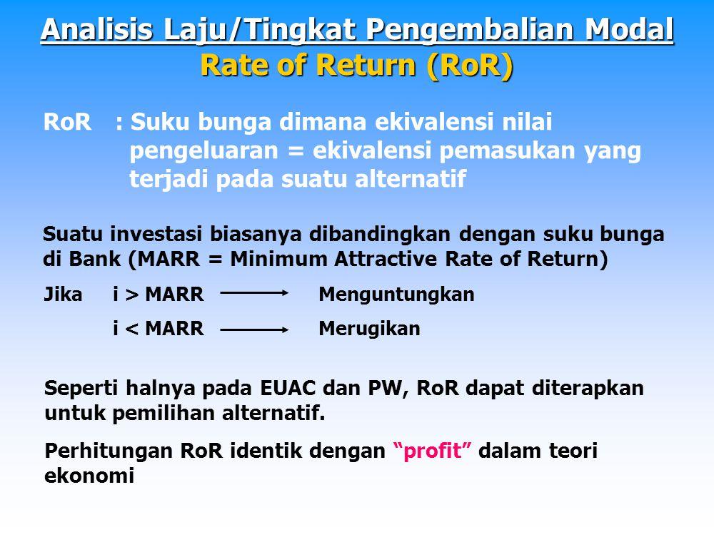 Metode : 1.IRR: Internal Rate of Return 2.ERR: External Rate of Return 3.ERRR: External Reinvest Rate of Return Perhitungan IRR -Jika menggunakan PW PW Biaya = PW Pemasukan PW Biaya – PW Pemasukan= 0 NPW atau NPV= 0 -Jika menggunakan EUAC EUAC Biaya = EUAC Pemasukan EUAC Pemasukan – EUAC Biaya = 0 NAW= 0