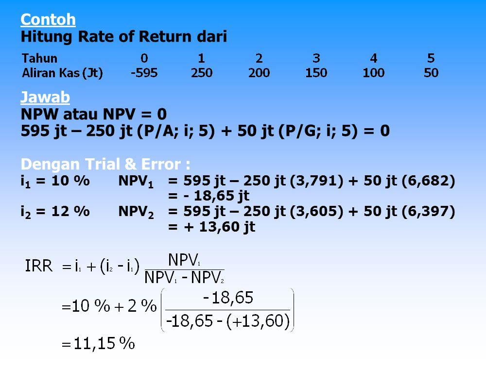 Contoh Biaya investasi: 200 jt Pemasukan: 100 jt/th Pengeluaran: 50 jt/th Nilai sisa tahun ke 10: 60 jt MARR (IRR Min): 30 %/th Jawab NAW = 0 100 jt + 60 jt (A/F; i; 10) - 200 jt (A/P; i; 10) – 50 jt = 0 50 jt + 60 jt (A/F; i; 10) - 200 jt (A/P; i; 10) = 0 Dengan Trial & Error : i 1 = 20 %NAW 1 = 5 + 6 (0,0385) - 20 (0,2385) = 0,461 i 2 = 25 %NAW 2 = 5 + 6 (0,0301) - 20 (0,2801) = - 0,4214