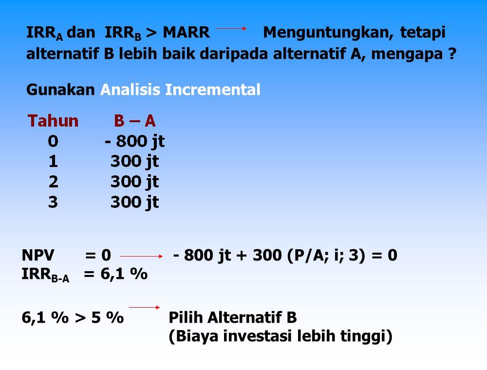 Perhitungan Rate of Return untuk 3 alternatif atau lebih yang tidak saling berkaitan (mutually exclusive) Gunakan Analisis Incremental, yaitu : 1.Hitung RoR masing-masing alternatif, hilangkan alternatif yang mempunyai RoR < MARR.