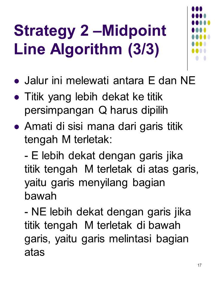 Strategy 2 –Midpoint Line Algorithm (3/3) Jalur ini melewati antara E dan NE Titik yang lebih dekat ke titik persimpangan Q harus dipilih Amati di sis
