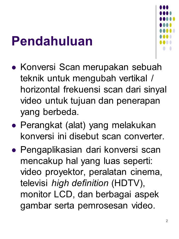 Pendahuluan Konversi Scan merupakan sebuah teknik untuk mengubah vertikal / horizontal frekuensi scan dari sinyal video untuk tujuan dan penerapan yan