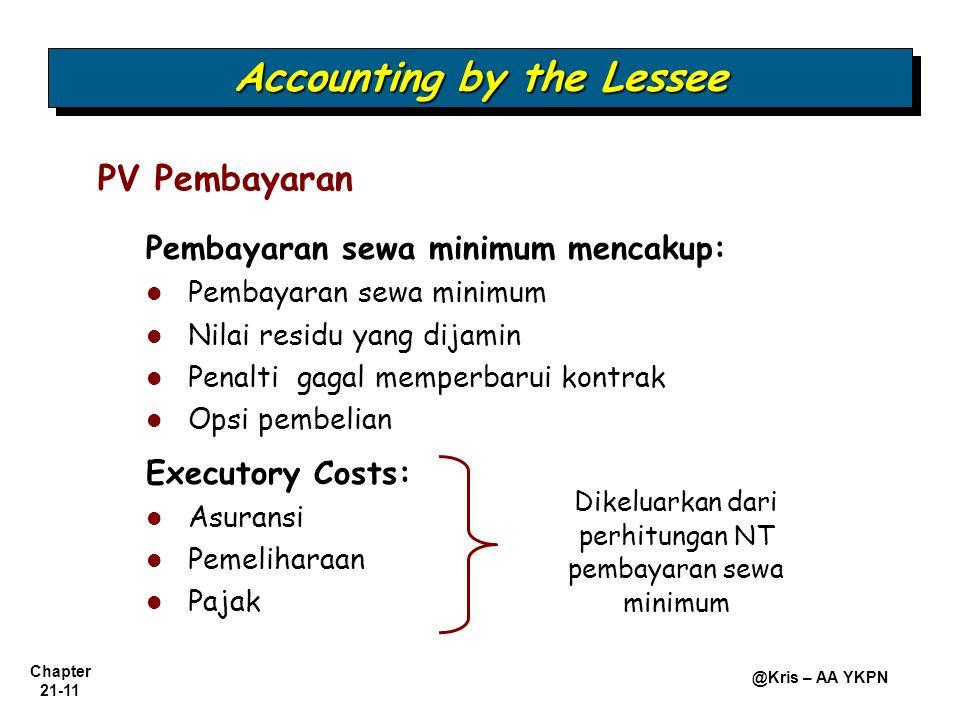 Chapter 21-11 @Kris – AA YKPN PV Pembayaran Accounting by the Lessee Pembayaran sewa minimum mencakup: Pembayaran sewa minimum Nilai residu yang dijamin Penalti gagal memperbarui kontrak Opsi pembelian Executory Costs: Asuransi Pemeliharaan Pajak Dikeluarkan dari perhitungan NT pembayaran sewa minimum