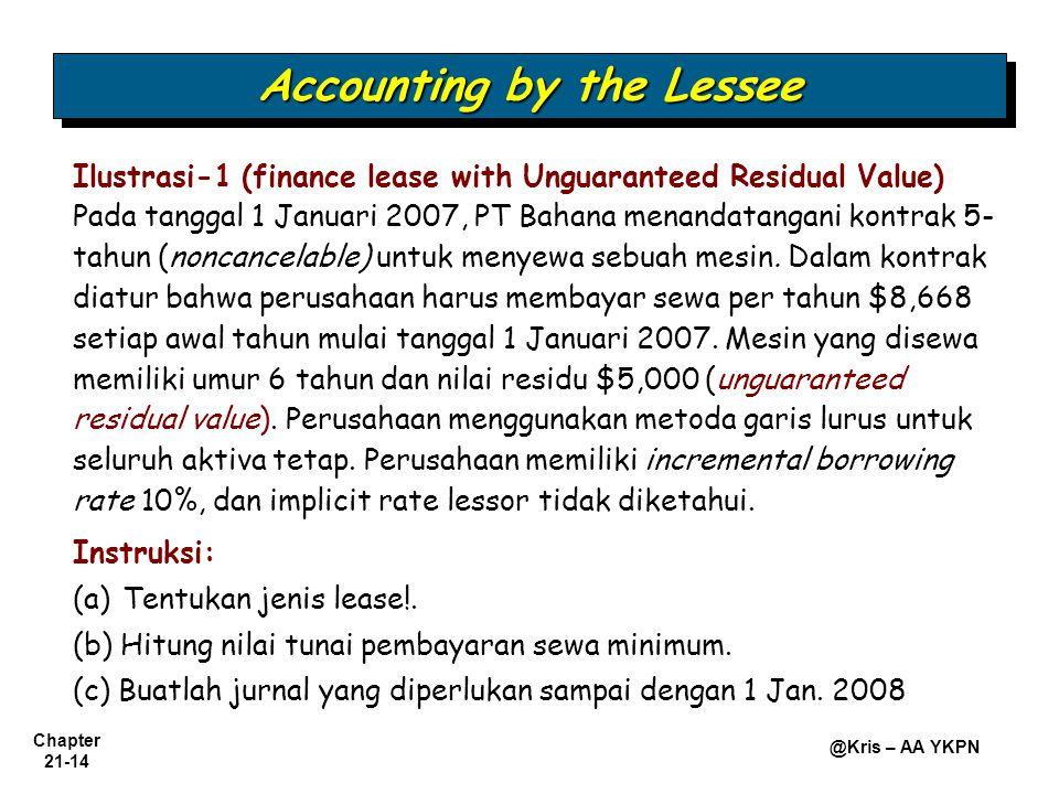 Chapter 21-14 @Kris – AA YKPN Ilustrasi-1 (finance lease with Unguaranteed Residual Value) Pada tanggal 1 Januari 2007, PT Bahana menandatangani kontrak 5- tahun (noncancelable) untuk menyewa sebuah mesin.