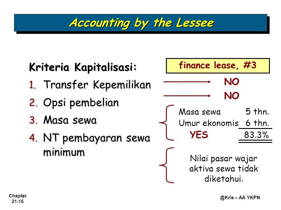 Chapter 21-15 @Kris – AA YKPN Accounting by the Lessee Kriteria Kapitalisasi: 1. Transfer Kepemilikan 2. Opsi pembelian 3. Masa sewa 4. NT pembayaran