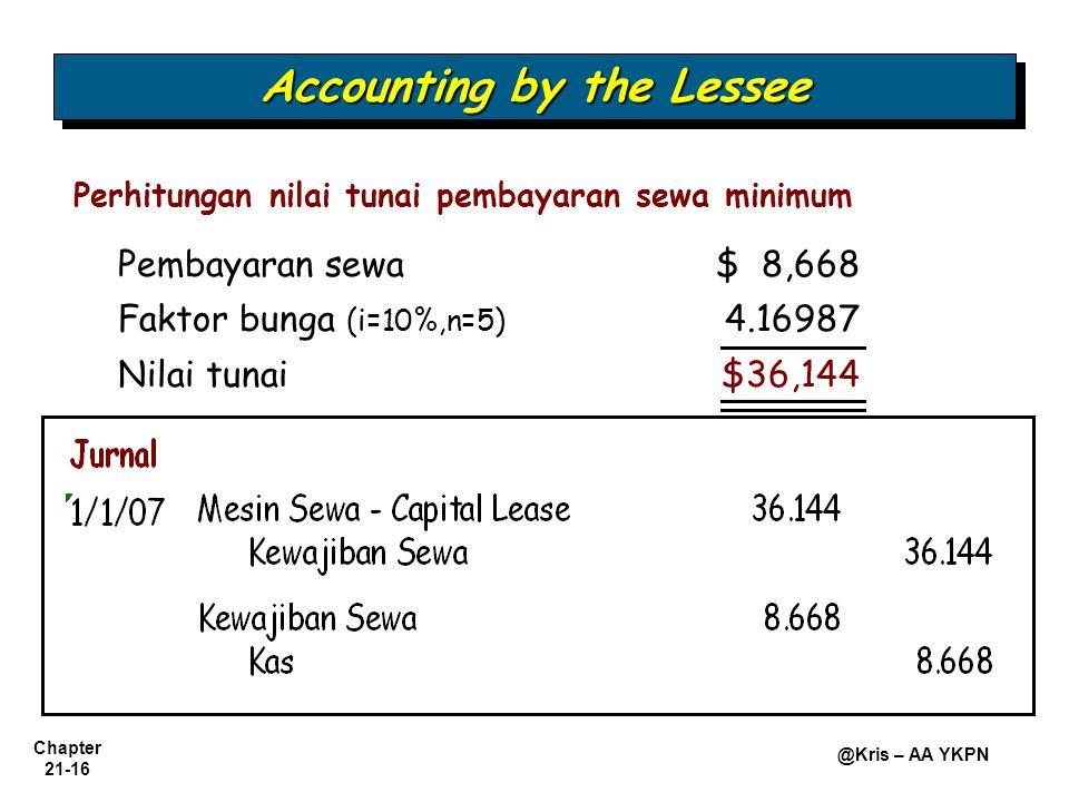 Chapter 21-16 @Kris – AA YKPN Perhitungan nilai tunai pembayaran sewa minimum Accounting by the Lessee Pembayaran sewa $ 8,668 Faktor bunga (i=10%,n=5