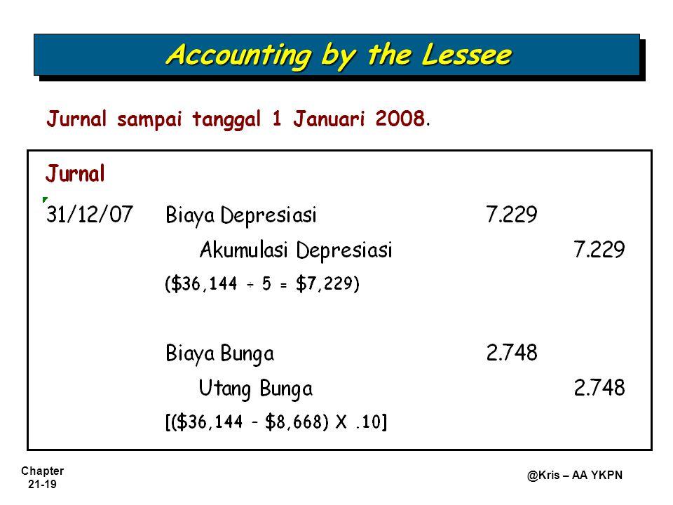 Chapter 21-19 @Kris – AA YKPN Jurnal sampai tanggal 1 Januari 2008. Accounting by the Lessee