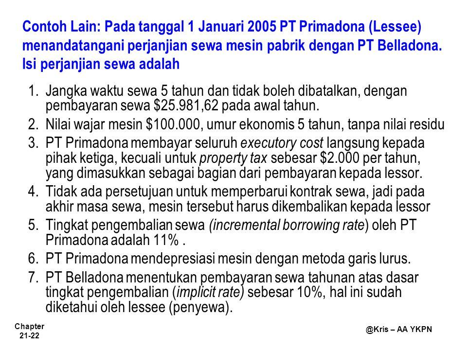 Chapter 21-22 @Kris – AA YKPN Contoh Lain: Pada tanggal 1 Januari 2005 PT Primadona (Lessee) menandatangani perjanjian sewa mesin pabrik dengan PT Bel