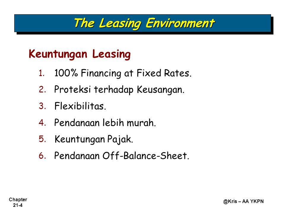 Chapter 21-4 @Kris – AA YKPN 1. 1. 100% Financing at Fixed Rates. 2. 2. Proteksi terhadap Keusangan. 3. 3. Flexibilitas. 4. 4. Pendanaan lebih murah.