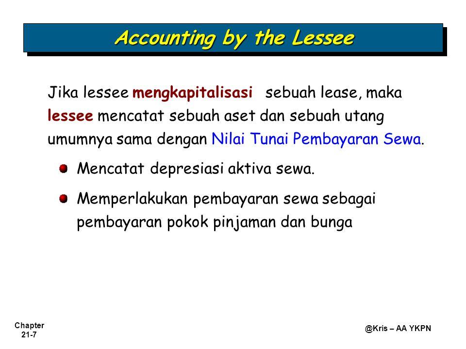 Chapter 21-7 @Kris – AA YKPN Jika lessee mengkapitalisasi sebuah lease, maka lessee mencatat sebuah aset dan sebuah utang umumnya sama dengan Nilai Tu
