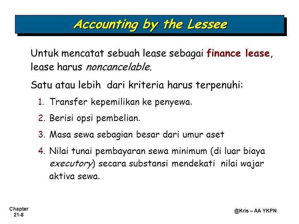 Chapter 21-8 @Kris – AA YKPN Untuk mencatat sebuah lease sebagai finance lease, lease harus noncancelable. Satu atau lebih dari kriteria harus terpenu