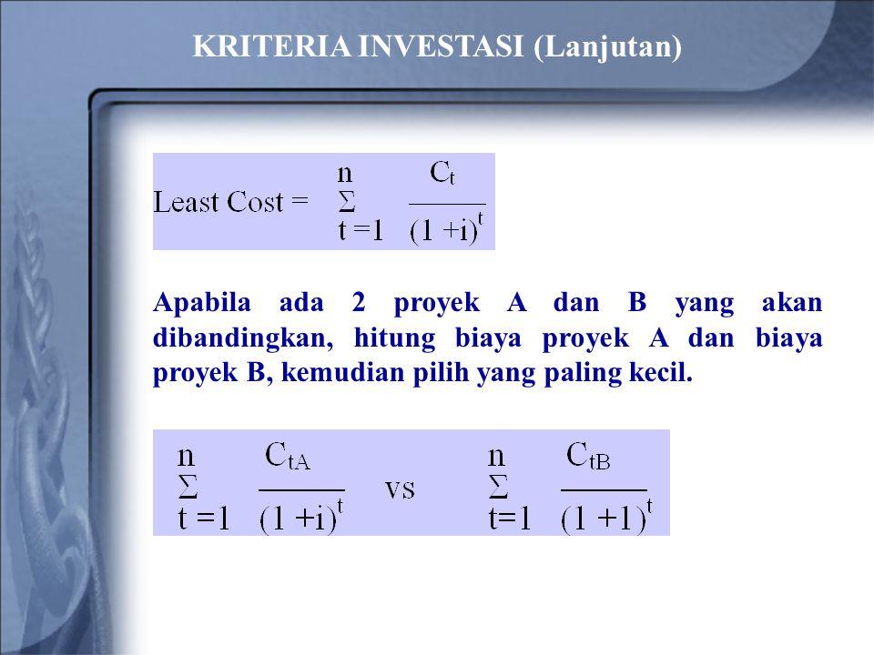 Apabila ada 2 proyek A dan B yang akan dibandingkan, hitung biaya proyek A dan biaya proyek B, kemudian pilih yang paling kecil. KRITERIA INVESTASI (L