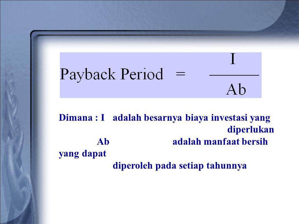 Dimana : I adalah besarnya biaya investasi yang diperlukan Ab adalah manfaat bersih yang dapat diperoleh pada setiap tahunnya