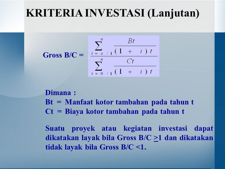 Gross B/C = Dimana : Bt = Manfaat kotor tambahan pada tahun t Ct = Biaya kotor tambahan pada tahun t KRITERIA INVESTASI (Lanjutan) Suatu proyek atau kegiatan investasi dapat dikatakan layak bila Gross B/C >1 dan dikatakan tidak layak bila Gross B/C <1.
