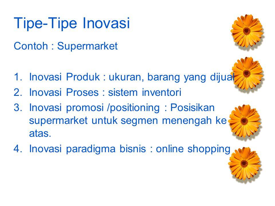Tipe-Tipe Inovasi Contoh : Supermarket 1.Inovasi Produk : ukuran, barang yang dijual 2.Inovasi Proses : sistem inventori 3.Inovasi promosi /positioning : Posisikan supermarket untuk segmen menengah ke atas.