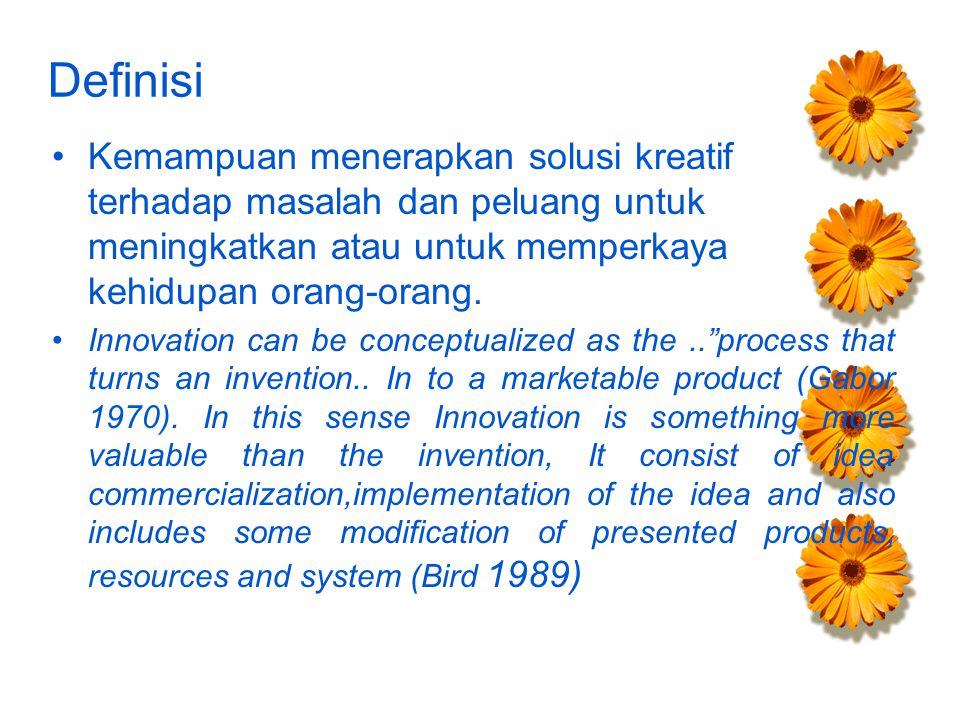 Definisi Kemampuan menerapkan solusi kreatif terhadap masalah dan peluang untuk meningkatkan atau untuk memperkaya kehidupan orang-orang.