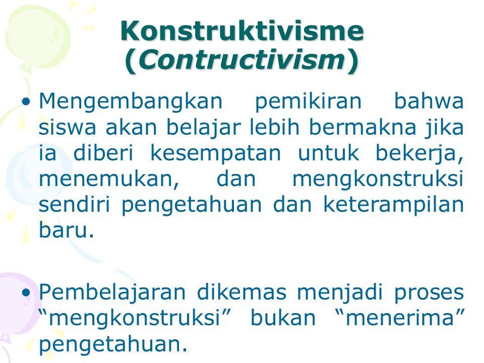 Konstruktivisme (Contructivism) Mengembangkan pemikiran bahwa siswa akan belajar lebih bermakna jika ia diberi kesempatan untuk bekerja, menemukan, dan mengkonstruksi sendiri pengetahuan dan keterampilan baru.