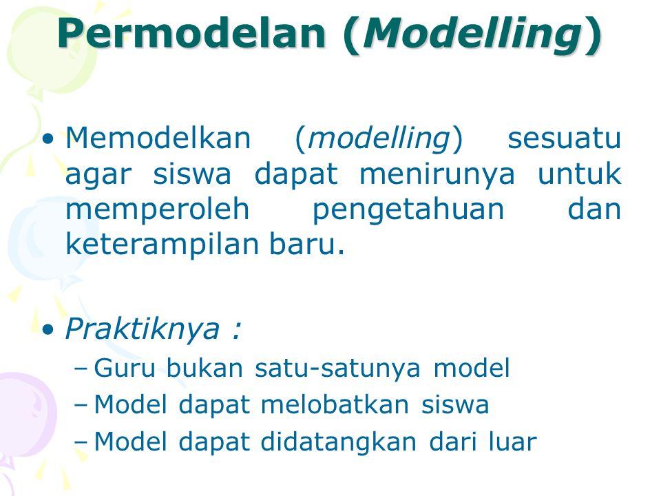 Permodelan (Modelling) Memodelkan (modelling) sesuatu agar siswa dapat menirunya untuk memperoleh pengetahuan dan keterampilan baru. Praktiknya : –Gur