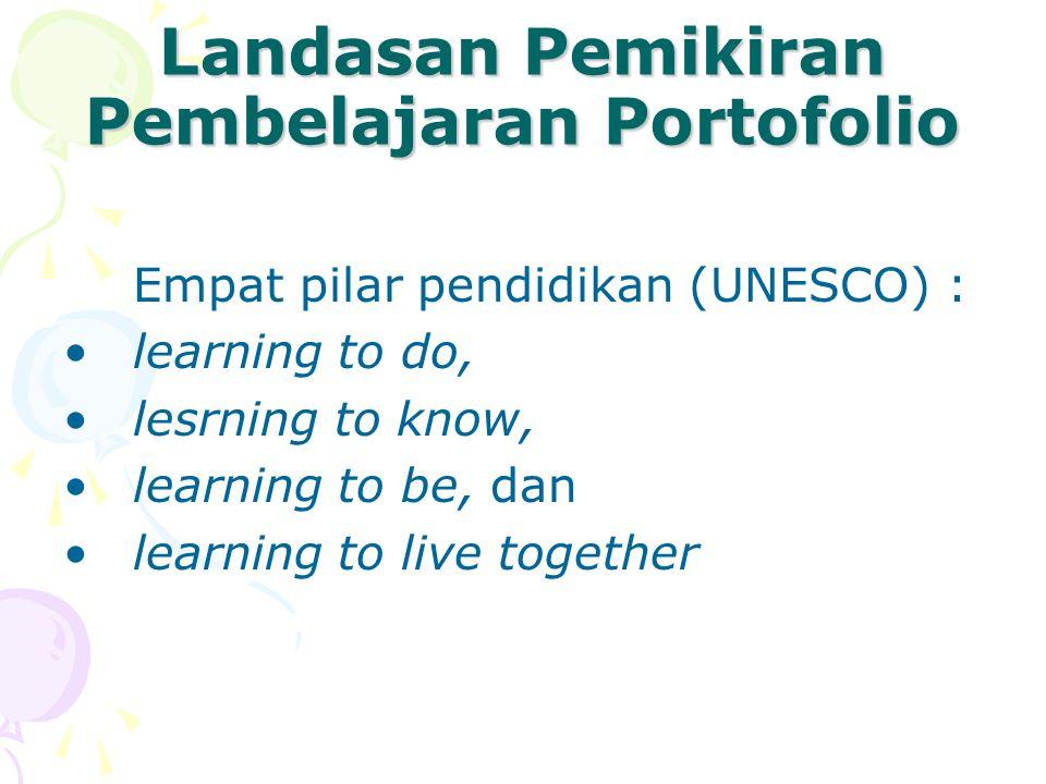 Landasan Pemikiran Pembelajaran Portofolio Empat pilar pendidikan (UNESCO) : learning to do, lesrning to know, learning to be, dan learning to live to