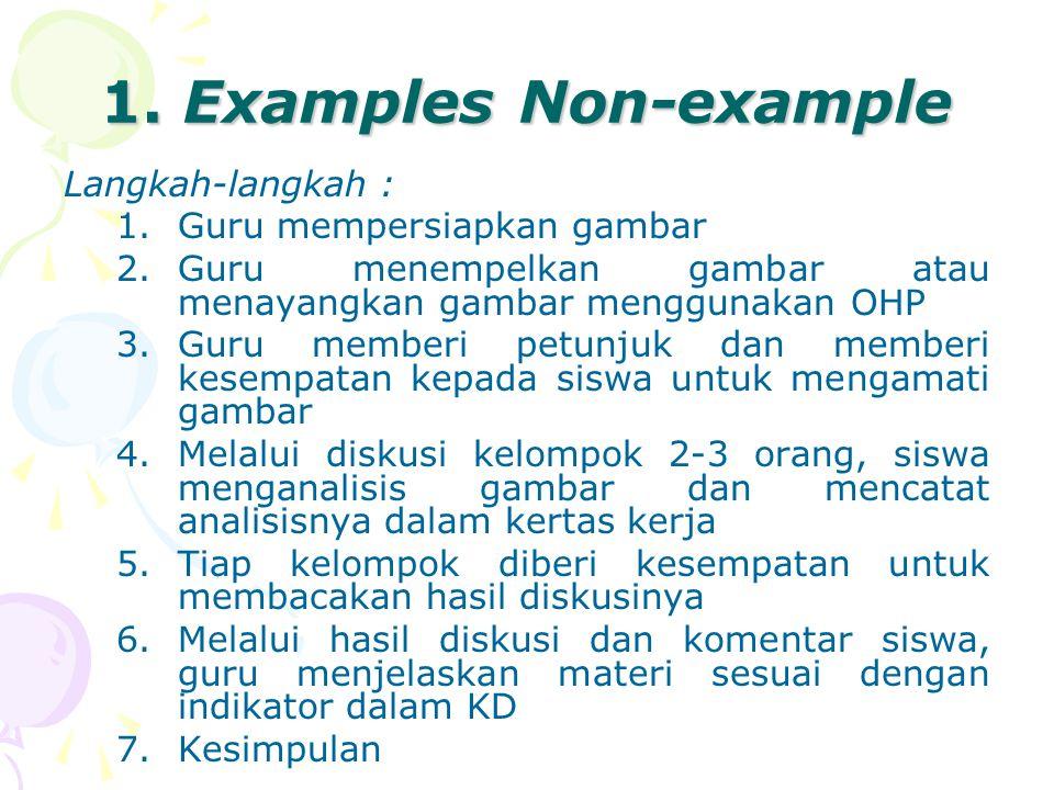 1. Examples Non-example Langkah-langkah : 1.Guru mempersiapkan gambar 2.Guru menempelkan gambar atau menayangkan gambar menggunakan OHP 3.Guru memberi