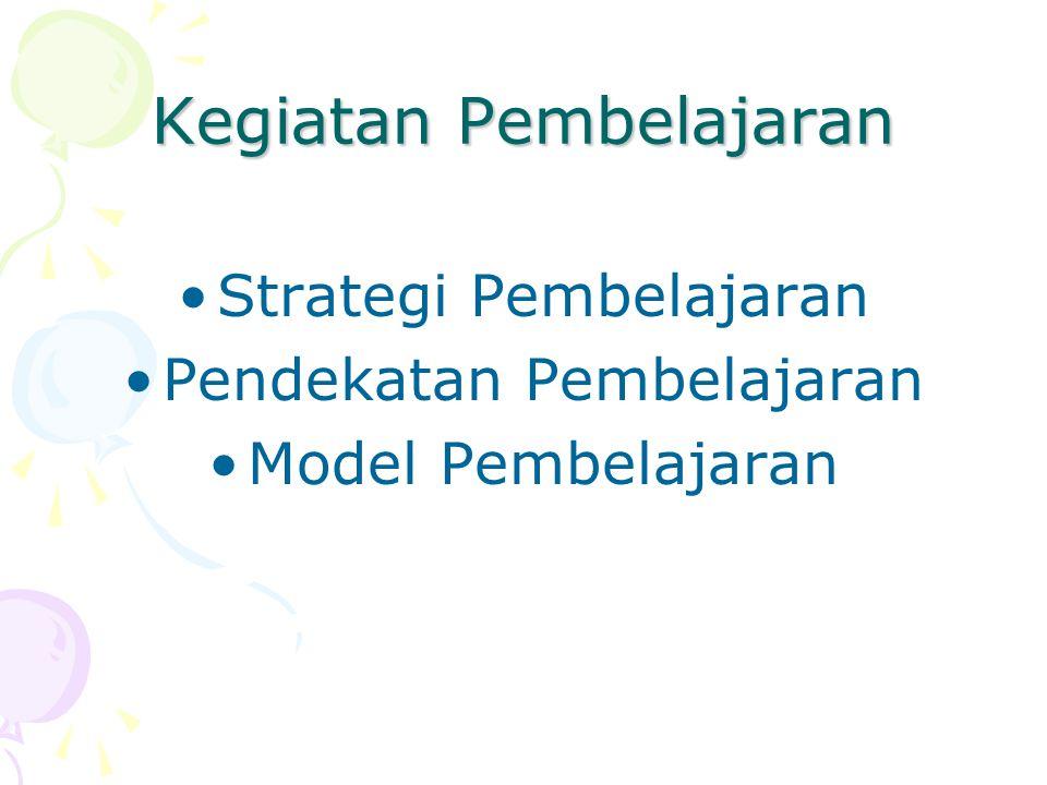 Kegiatan Pembelajaran Strategi Pembelajaran Pendekatan Pembelajaran Model Pembelajaran