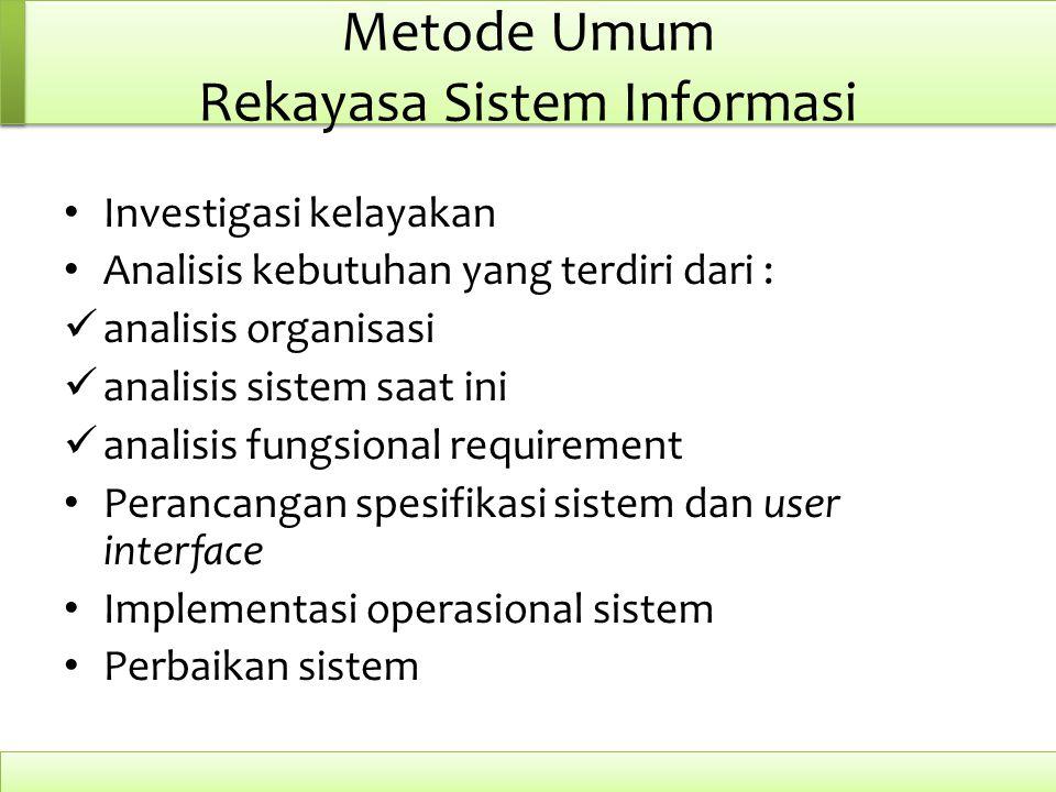 Metode Umum Rekayasa Sistem Informasi Investigasi kelayakan Analisis kebutuhan yang terdiri dari : analisis organisasi analisis sistem saat ini analis