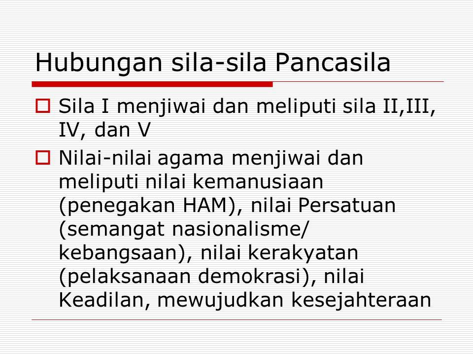 Hubungan sila-sila Pancasila  Sila I menjiwai dan meliputi sila II,III, IV, dan V  Nilai-nilai agama menjiwai dan meliputi nilai kemanusiaan (penega
