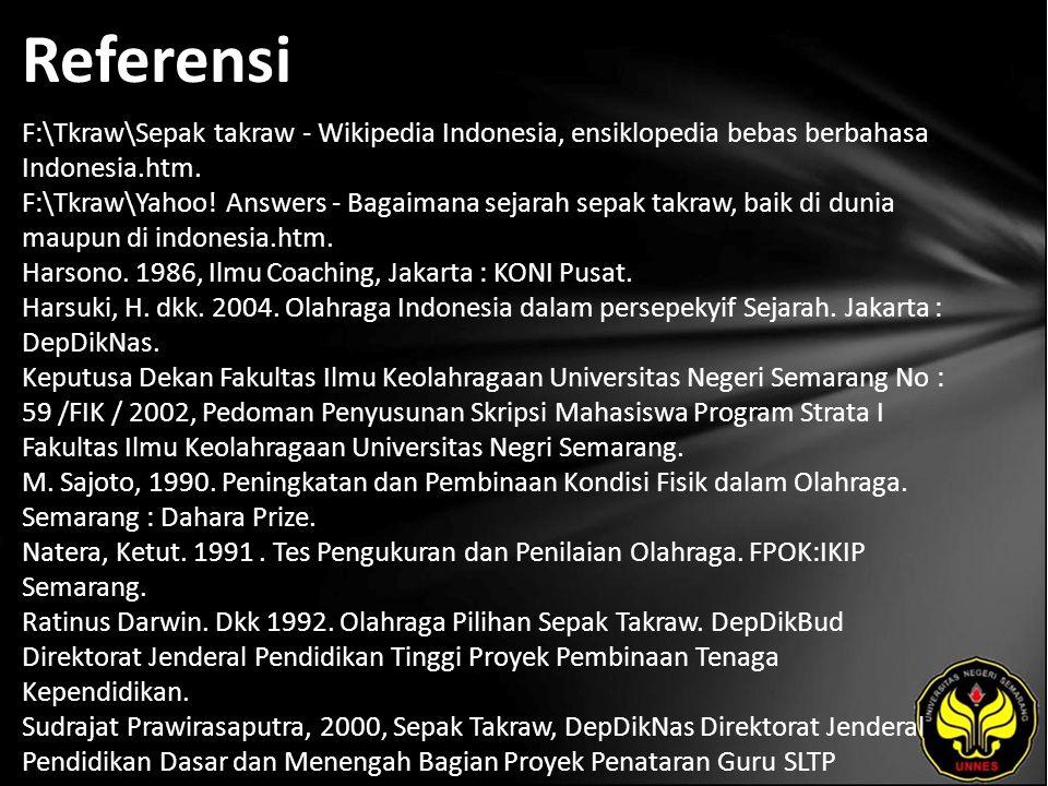 Referensi F:\Tkraw\Sepak takraw - Wikipedia Indonesia, ensiklopedia bebas berbahasa Indonesia.htm.