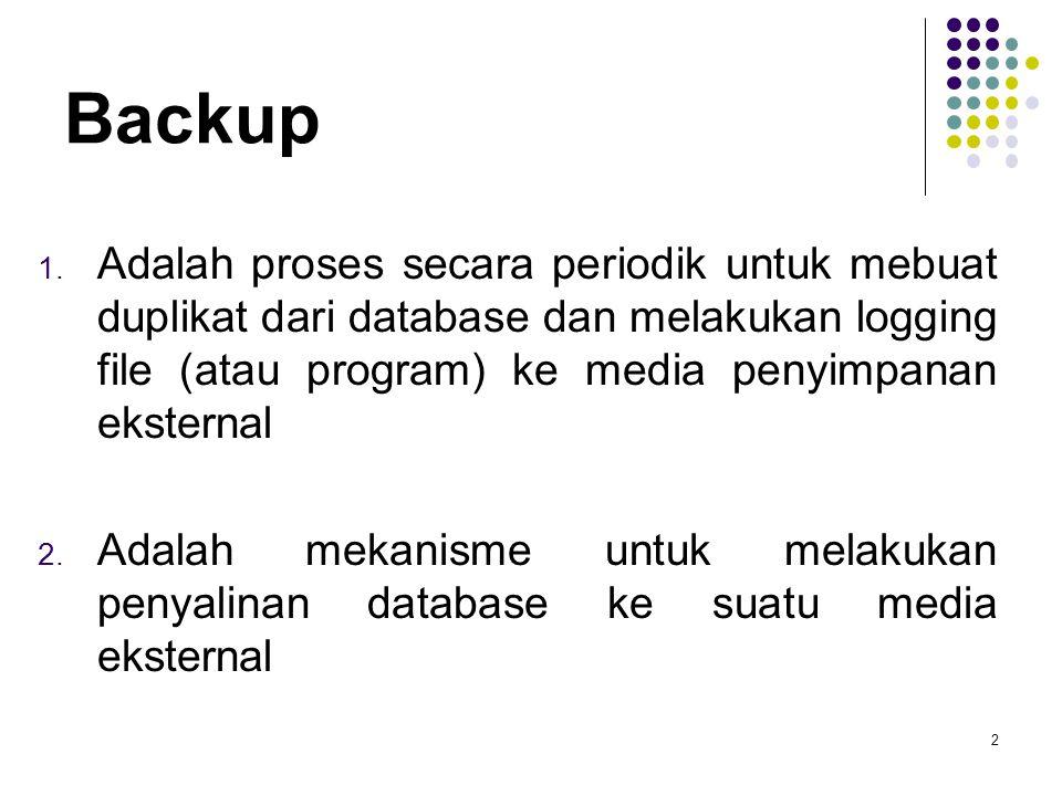 Backup 1. Adalah proses secara periodik untuk mebuat duplikat dari database dan melakukan logging file (atau program) ke media penyimpanan eksternal 2