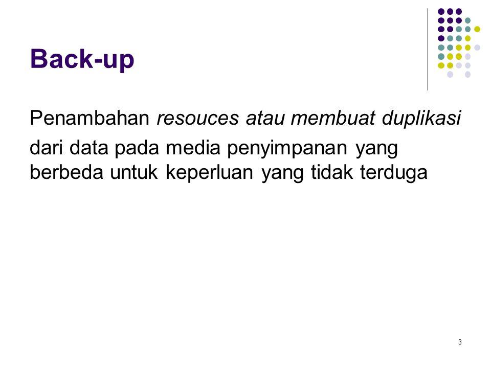 Back-up Penambahan resouces atau membuat duplikasi dari data pada media penyimpanan yang berbeda untuk keperluan yang tidak terduga 3