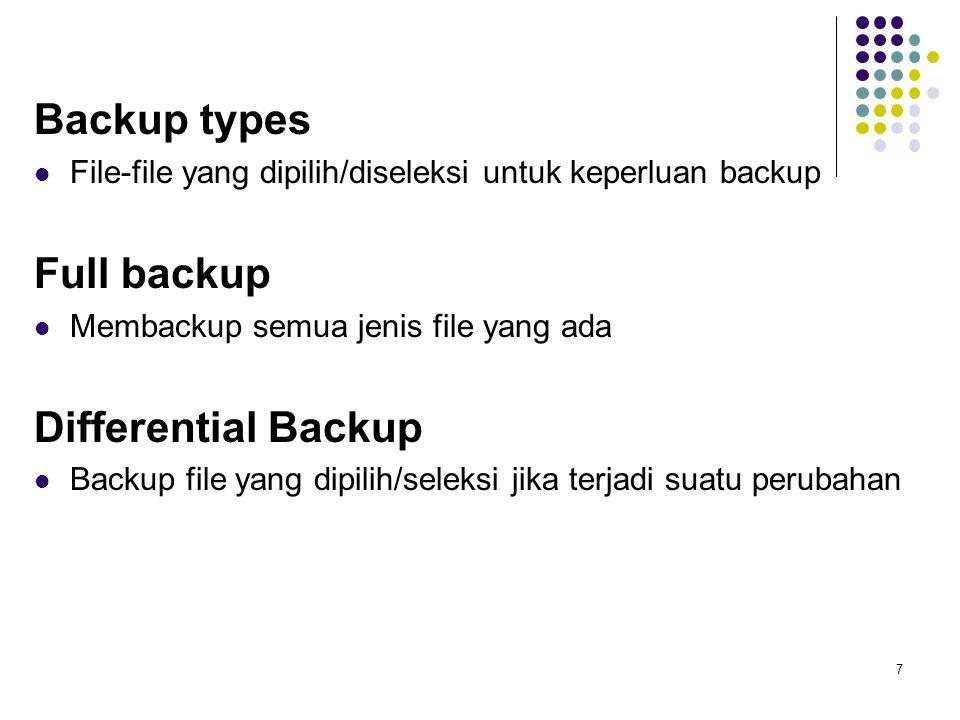 Backup types File-file yang dipilih/diseleksi untuk keperluan backup Full backup Membackup semua jenis file yang ada Differential Backup Backup file y