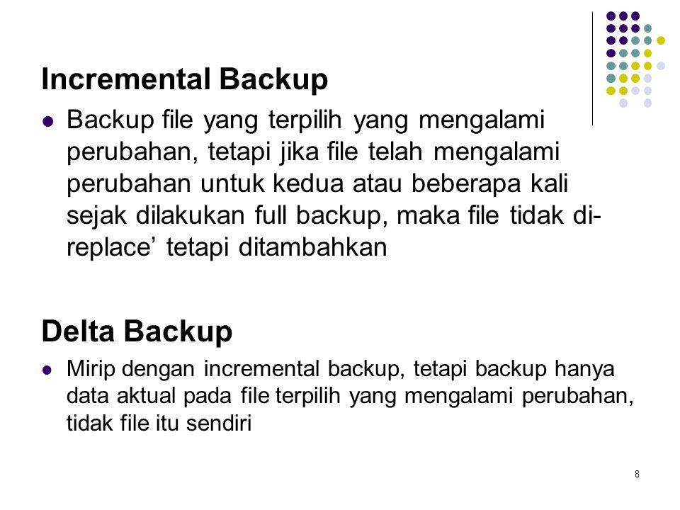 Incremental Backup Backup file yang terpilih yang mengalami perubahan, tetapi jika file telah mengalami perubahan untuk kedua atau beberapa kali sejak