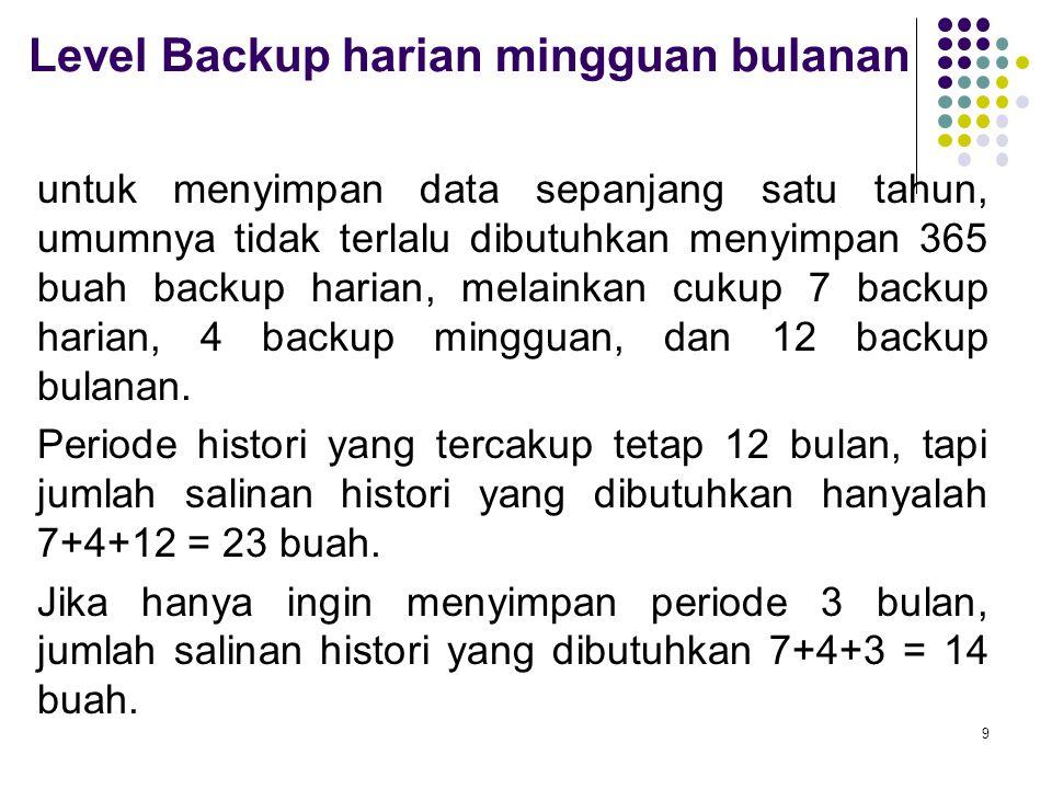 Level Backup harian mingguan bulanan untuk menyimpan data sepanjang satu tahun, umumnya tidak terlalu dibutuhkan menyimpan 365 buah backup harian, mel