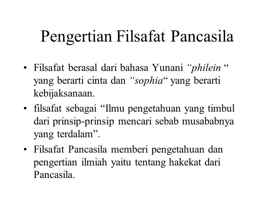 """Pengertian Filsafat Pancasila Filsafat berasal dari bahasa Yunani """"philein """" yang berarti cinta dan """"sophia"""" yang berarti kebijaksanaan. filsafat seba"""
