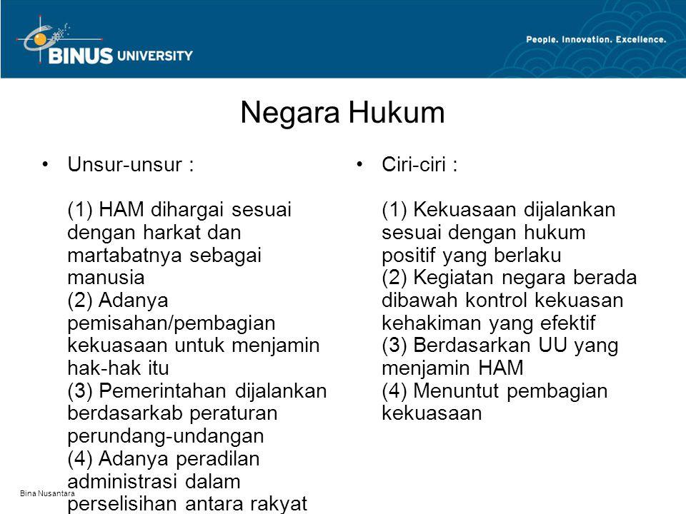 Bina Nusantara Negara Hukum Unsur-unsur : (1) HAM dihargai sesuai dengan harkat dan martabatnya sebagai manusia (2) Adanya pemisahan/pembagian kekuasa