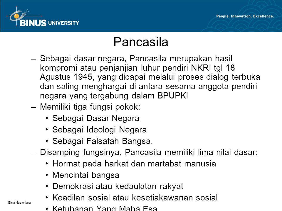 Bina Nusantara Pancasila –Sebagai dasar negara, Pancasila merupakan hasil kompromi atau penjanjian luhur pendiri NKRI tgl 18 Agustus 1945, yang dicapa