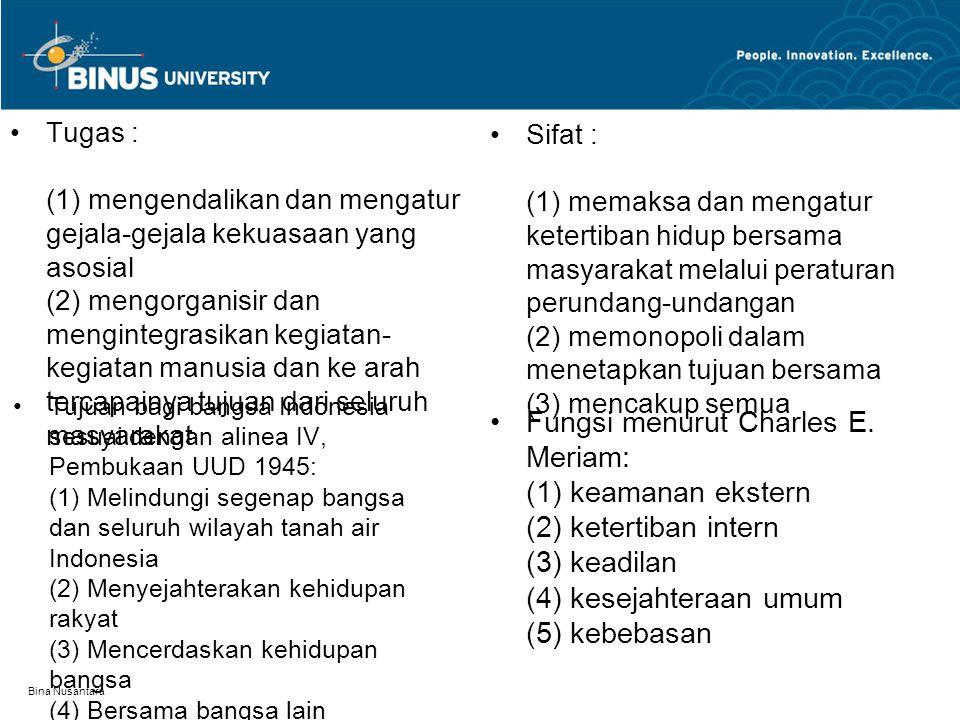 Bina Nusantara Tugas : (1) mengendalikan dan mengatur gejala-gejala kekuasaan yang asosial (2) mengorganisir dan mengintegrasikan kegiatan- kegiatan m