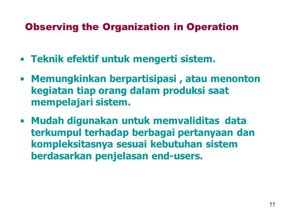 11 Observing the Organization in Operation Teknik efektif untuk mengerti sistem. Memungkinkan berpartisipasi, atau menonton kegiatan tiap orang dalam
