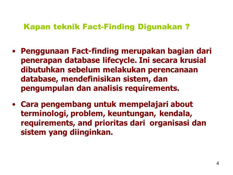 5 Teknik Fact-Finding Pengembang Database normalnya menggunakan beberapa teknik fact- finding selama mengerjakan proyek database antaralain : mempelajari documentasi, interview, observasi organisasi saat operasi, penelitian, questionnaires.