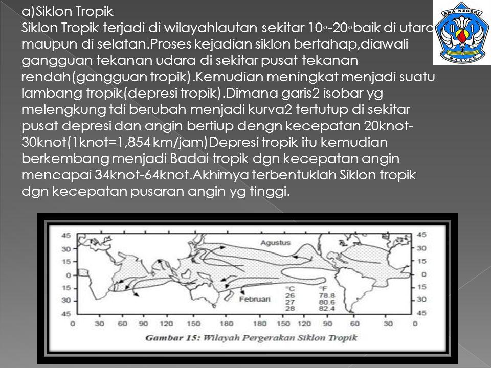 a)Siklon Tropik Siklon Tropik terjadi di wilayahlautan sekitar 10◦-20◦baik di utara maupun di selatan.Proses kejadian siklon bertahap,diawali gangguan