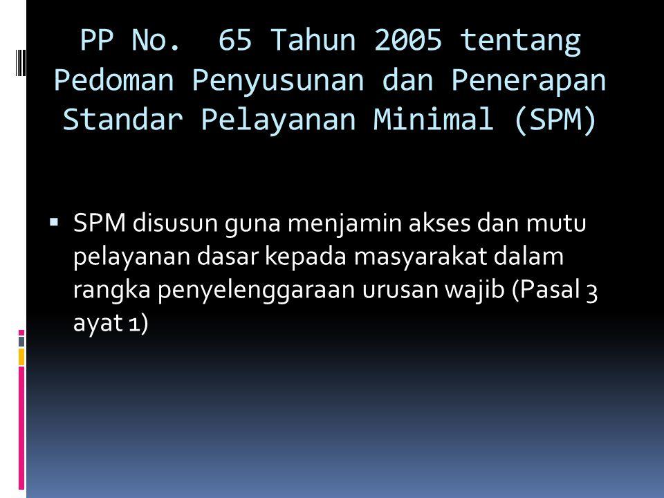 PP No. 65 Tahun 2005 tentang Pedoman Penyusunan dan Penerapan Standar Pelayanan Minimal (SPM)  SPM disusun guna menjamin akses dan mutu pelayanan das