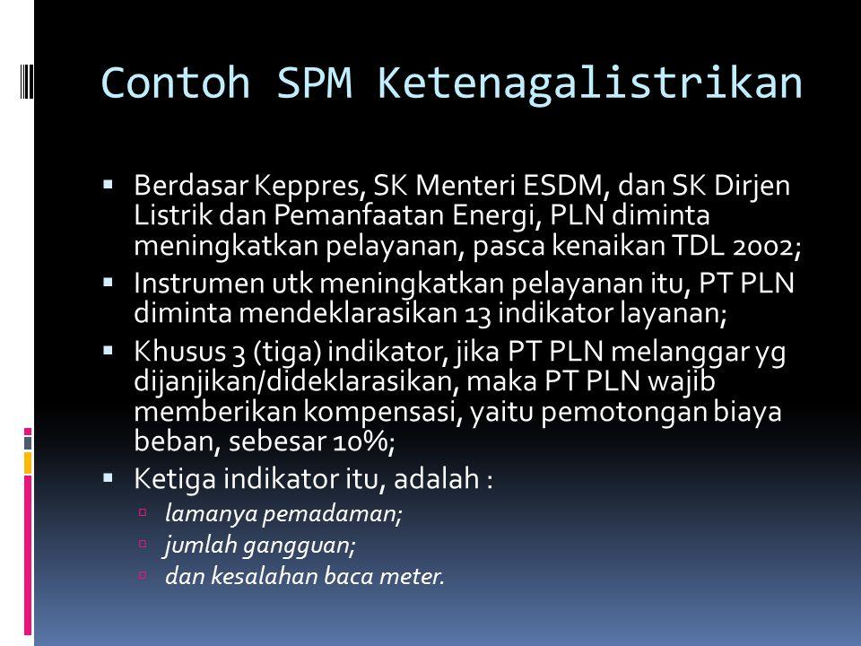 Contoh SPM Ketenagalistrikan  Berdasar Keppres, SK Menteri ESDM, dan SK Dirjen Listrik dan Pemanfaatan Energi, PLN diminta meningkatkan pelayanan, pa
