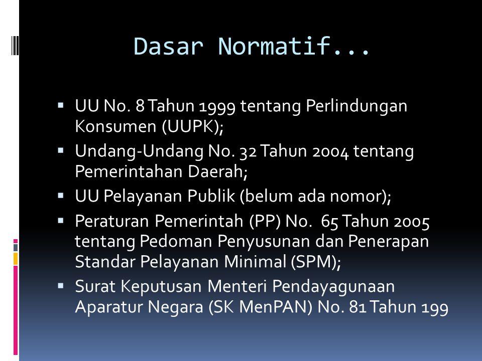 Dasar Normatif...  UU No. 8 Tahun 1999 tentang Perlindungan Konsumen (UUPK);  Undang-Undang No. 32 Tahun 2004 tentang Pemerintahan Daerah;  UU Pela