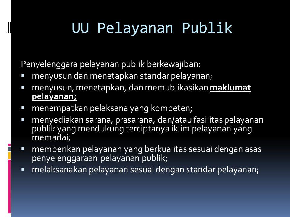 UU Pelayanan Publik Penyelenggara pelayanan publik berkewajiban:  menyusun dan menetapkan standar pelayanan;  menyusun, menetapkan, dan memublikasik