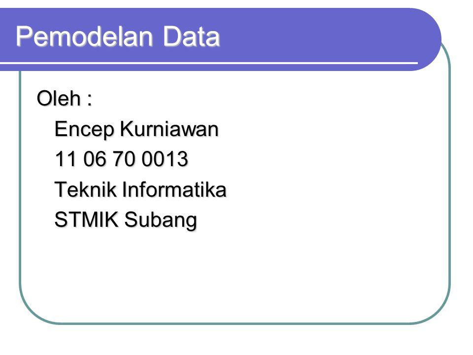 Pemodelan Data Oleh : Encep Kurniawan 11 06 70 0013 Teknik Informatika STMIK Subang