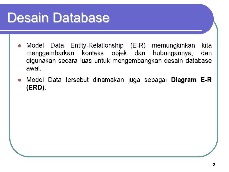 2 Desain Database Model Data Entity-Relationship (E-R) memungkinkan kita menggambarkan konteks objek dan hubungannya, dan digunakan secara luas untuk
