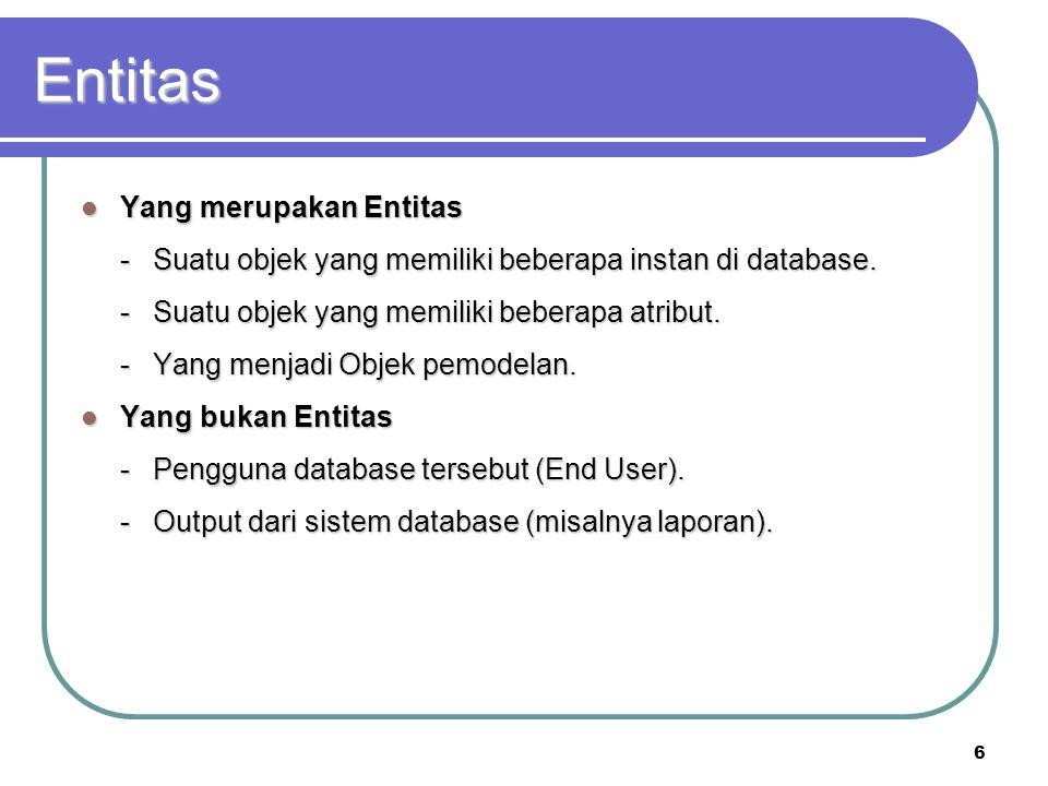 6 Entitas Yang merupakan Entitas Yang merupakan Entitas -Suatu objek yang memiliki beberapa instan di database. -Suatu objek yang memiliki beberapa at