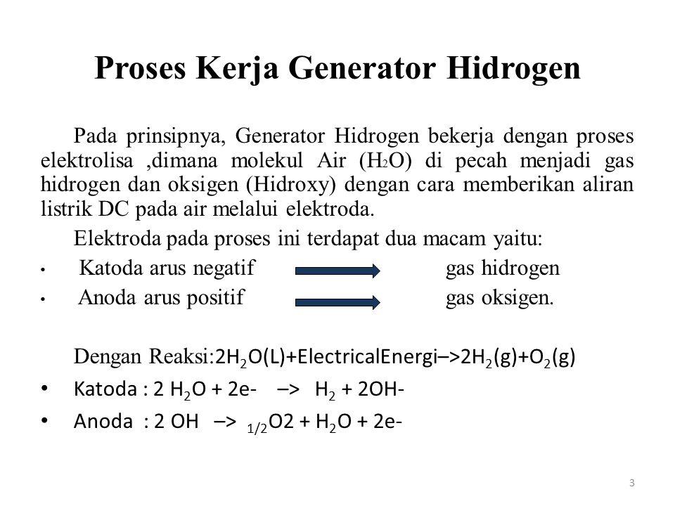 Proses Kerja Generator Hidrogen Pada prinsipnya, Generator Hidrogen bekerja dengan proses elektrolisa,dimana molekul Air (H 2 O) di pecah menjadi gas
